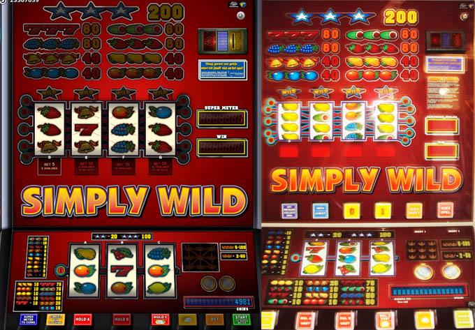 De Speelhal versie van de Simply Wild van Errel/JVH vergeleken met de online versie van Greentube
